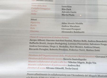 """""""Vento della sera, o l'orribile banchetto"""" Trascrizione in prima assoluta, In collaborazione con l'accademia del Maggio Musicale Fiorentino"""